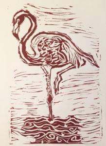 Linocut - flamingo
