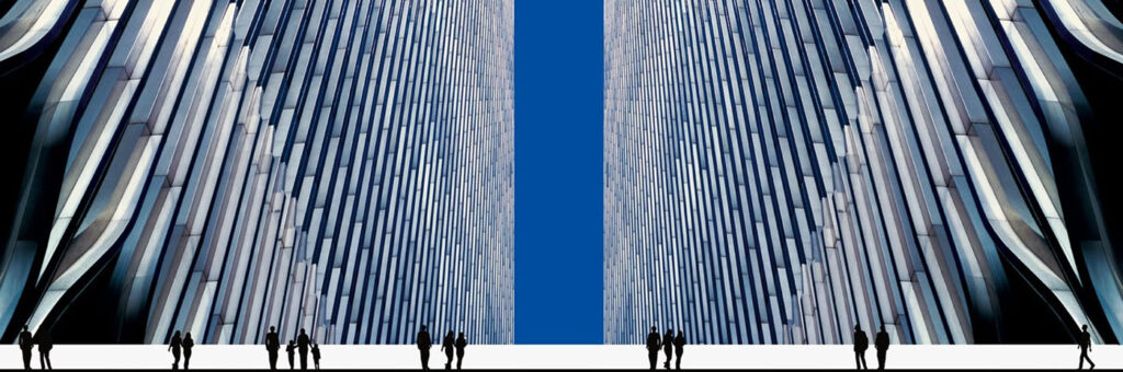 A Charles Moretz photograph of the twin towers of the World Trade Center, with silhouettes of people added on the bottom.